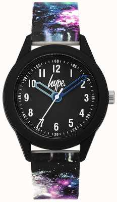 Hype | bracelet en silicone matière noire galaxy | cadran noir | HYK007BV