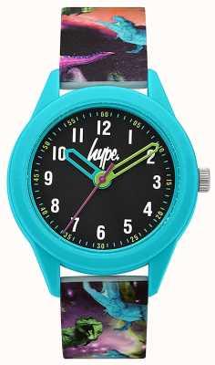 Hype | bracelet en silicone imprimé dinosaure | cadran noir | HYK008BU