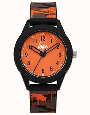 Hype | bracelet silicone camo gris / orange | cadran orange | HYK009NO