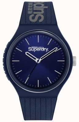 Superdry Cadran soleillé bleu marine | bracelet en silicone bleu marine / gris | SYG293U