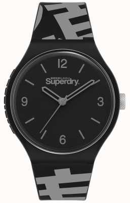 Superdry Cadran noir mat | bracelet en silicone noir / gris | SYG294BE
