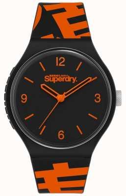 Superdry Bracelet en silicone noir / orange | cadran noir mat | SYG294BO