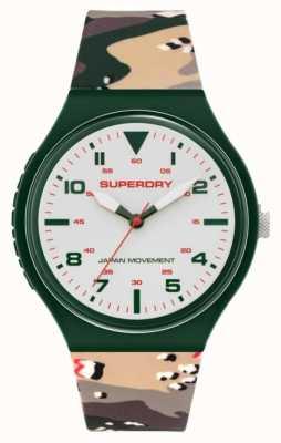 Superdry Cadran crème mat | bracelet en silicone kaki camo | SYG295N