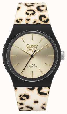 Superdry Cadran champagne brossé | bracelet imprimé léopard | SYG299GB
