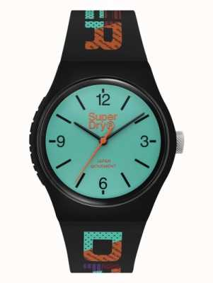 Superdry Cadran bleu sarcelle mat | bracelet en silicone noir | SYG301BAU