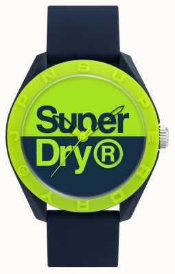 Superdry Bracelet en silicone bleu marine | cadran bleu / vert SYG303UN