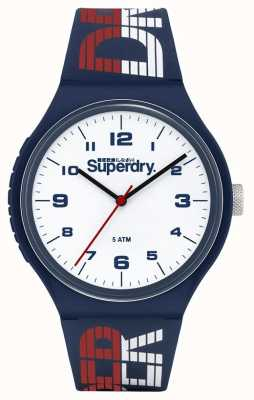 Superdry Bracelet en silicone bleu / blanc / rouge | cadran blanc | SYG269UW