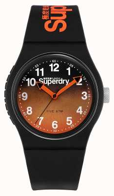 Superdry | bracelet en silicone noir | cadran bicolore noir / orange | SYG198BO