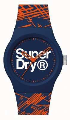 Superdry Bracelet en silicone bleu marine / orange | cadran bleu marine / orange / blanc | SYG292OU