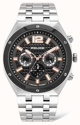 Police Kediri | bracelet en acier inoxydable | cadran noir / blanc | 15995JSTU/61M