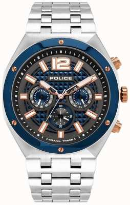Police | kediri | bracelet en acier inoxydable | cadran bleu / métal gun | 15995JSTBL/61M