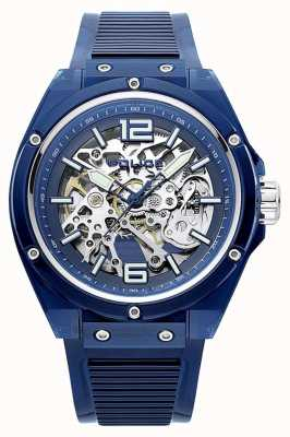 Police | translucide | bracelet en plastique bleu | cadran squelette | 15924JPBL/48P