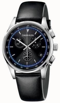 Calvin Klein | achèvement | bracelet en cuir noir | cadran noir | KAM271C1