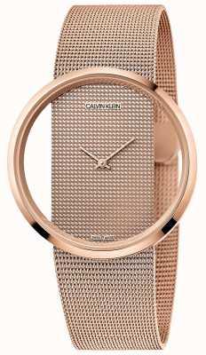 Calvin Klein | glam | bracelet en maille plaquée or rose pvd | cadran en or rose K942362A