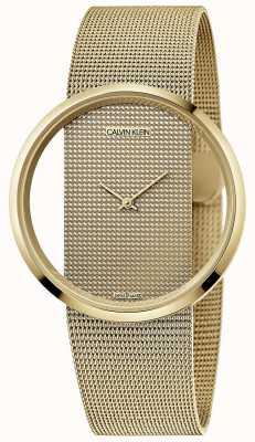 Calvin Klein | glam | bracelet en maille d'acier plaqué pvd or | cadran or | K9423Y29