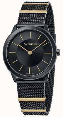 Calvin Klein | minimal | bracelet en maille noire | cadran noir | 35 mm K3M524Z1