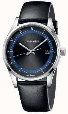 Calvin Klein | achèvement | bracelet en cuir noir | cadran noir / bleu | KAM211C1