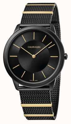 Calvin Klein | minimal | bracelet en maille d'acier noir | cadran noir | K3M514Z1