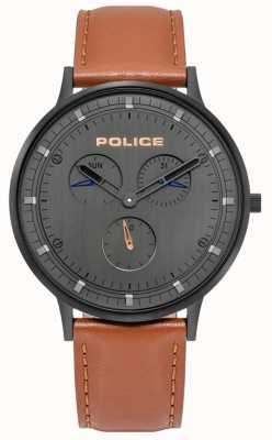 Police | berkeley pour hommes | bracelet en cuir marron | cadran gris | 15968JSB/39