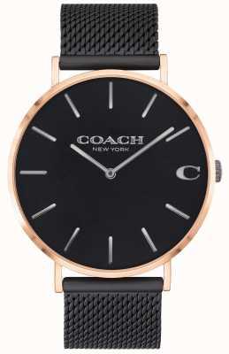 Coach   charles hommes   bracelet en maille noire   cadran noir   14602470