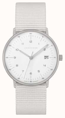 Junghans Max bill damen | sangle en nylon blanc | cadran blanc 047/4050.04