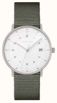 Junghans Max bill damen | bracelet en nylon gris | cadran blanc 047/4051.04