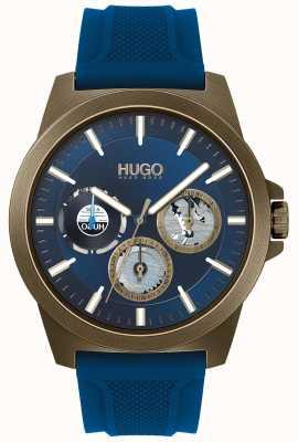 HUGO #twist | bracelet en caoutchouc bleu | cadran bleu 1530130