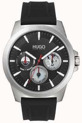 HUGO #twist | bracelet en caoutchouc noir | cadran noir | 1530129
