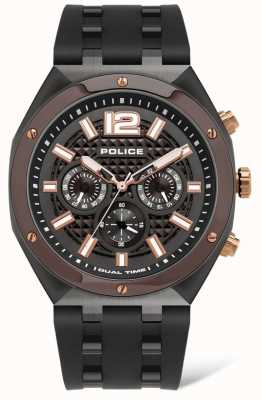 Police Kediri | bracelet en caoutchouc marron | cadran noir 15942JSBR/61P