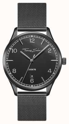 Thomas Sabo | glam et soul | bracelet en maille noire pour femme | cadran noir WA0362-202-203-36