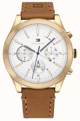 Tommy Hilfiger Ashton | bracelet en cuir marron | cadran blanc | 1791742