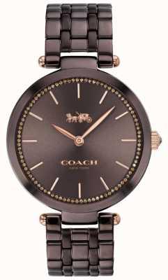 Coach | parc des femmes | bracelet en acier noir / marron | cadran marron 14503507