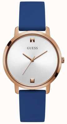 Guess | nova pour femmes | bracelet en caoutchouc bleu | cadran blanc GW0004L2