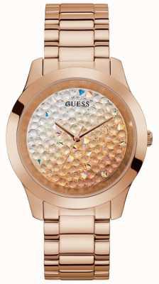 Guess   écraser les femmes   bracelet en acier or rose   cadran à paillettes   GW0020L3