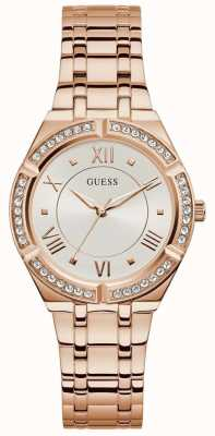Guess   cosmo féminin   bracelet en acier or rose   cadran blanc   GW0033L3
