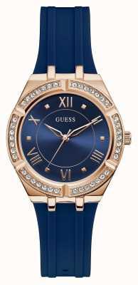 Guess | cosmo féminin | bracelet en caoutchouc bleu | cadran bleu | GW0034L4