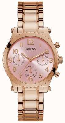 Guess | gwen des femmes | bracelet en acier or rose | cadran rose | GW0035L3