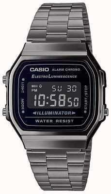 Casio | vintage | bracelet en acier inoxydable argenté | cadran noir | A168WEGG-1BEF