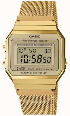Casio | collection | bracelet en maille d'acier | cadran numérique A700WEMG-9AEF