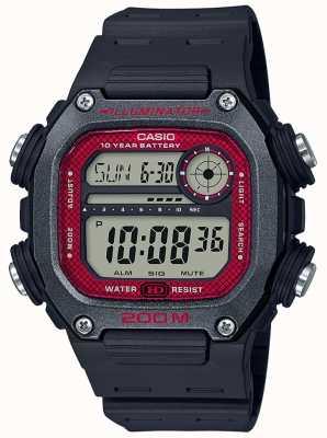 Casio | collection | bracelet en caoutchouc noir | cadran noir / rouge DW-291H-1BVEF