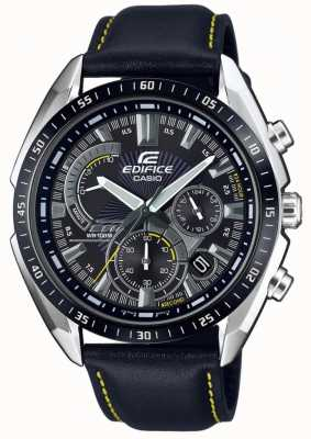 Casio | édifice | chronographe | bracelet en cuir noir | cadran noir EFR-570BL-1AVUEF