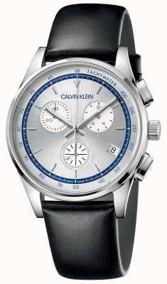 Calvin Klein | complétion hommes | bracelet en cuir noir | cadran argenté KAM271C6