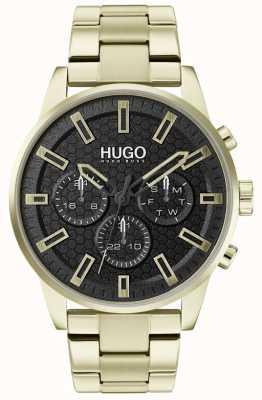 HUGO #seek | bracelet en acier inoxydable or | cadran noir | 1530152