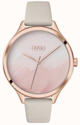 HUGO #smash | cadran rose blush | bracelet en cuir crème 1540059