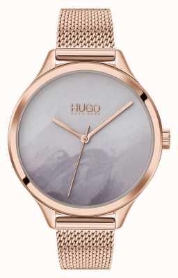 HUGO #smash | cadran gris blush | maille en or rose 1540060