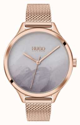 HUGO #smash | cadran gris blush | maille en or rose 1540060