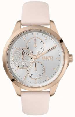 HUGO # intrépide | cadran argenté | bracelet en cuir rose 1540047