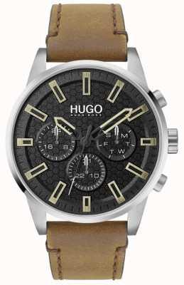 HUGO #seek | cadran noir | bracelet en cuir marron 1530150