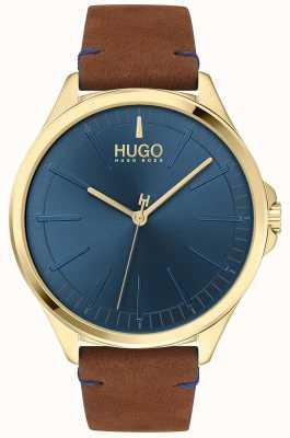 HUGO #smash | cadran bleu | bracelet en cuir marron 1530134
