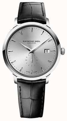 Raymond Weil Hommes | toccata | bracelet en cuir noir | cadran argenté 5484-STC-65001